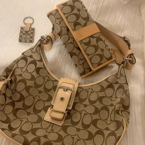 Coach authentic canvas bag/wallet/keychain.